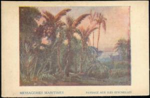seychelles, Paysage, Panorama with Palm Trees (1910s) Messageries Maritimes