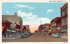Main Street, Aberdeen, South Dakota, Early Linen Postcard, Unused