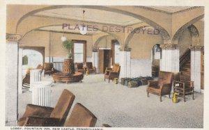 NEW CASTLE , Pennsylvania , 1910s ; Lobby , Fountain Inn