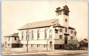 Augusta, Wisconsin RPPC Real Photo Postcard CATHOLIC CHURCH Building View 1920s