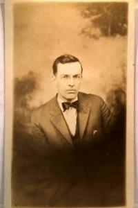 pre-1930 rppc MAN NAMED CHESTER IN BOW TIE - studio in Decatur Illinois IL v0347