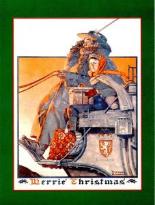 Norman Rockwell (Repro) - Christmas: London Stagecoach   Size: 6.625 X 4.625