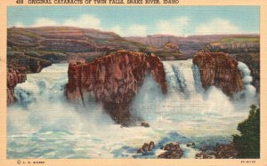 Snake River, ID, Original Cataracts of Twin Falls, 1944 Linen Postcard g4426