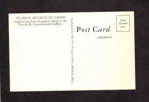 MA Peabody Museum Salem Mass Massachusetts Postcard Bed Cleopatra Barge Bedroom