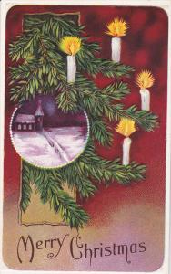 Merry Christmas, Snow covered Church, Lit candles, Pine branches, PU-1914