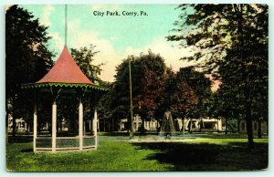 Corry Pennsylvania~City Park Gazebo Band Stand~Tiered Fountain~Homes~1914