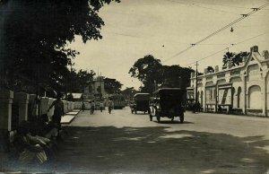 indonesia, JAVA SOERABAIA, Unknown Street Scene, Car Tram (1910s) RPPC Postcard