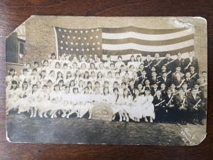 RPPC P.S. 50 Graduates January 1916 w/ US Flag in backround Paule Co Hooper z21
