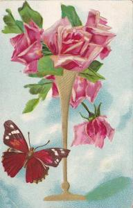 Pink roses, butterly, 00-10s