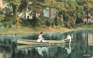 1908 Boating Passaic River New Jersey Canoe Temme postcard 9648