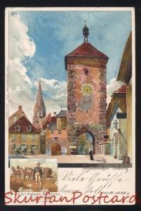 FREIBURG GERMANY SCHWABENTHOR BILD AUF DER STADSEITE THURMS VINTAGE POSTCARD