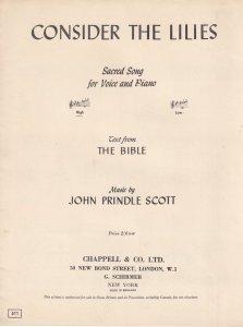 Consider The Lilies John Prindle Scott Olde Sheet Music