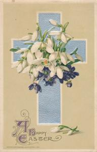 Easter Greetings - Cross and Lilies - Flowers - pm 1913 - John Winsch - DB