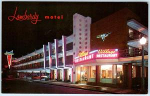ATLANTIC CITY, New Jersey NJ   Roadside Night Neon LOMBARDY MOTEL c1960sPostcard