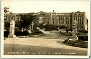 CHADRON, Nebraska RPPC Real Photo Postcard State Teachers College 1930 Cancel