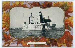 Beacon Lighthouse St John New Brunswick 1910c Canada postcard
