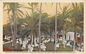 PALM BEACH FLORIDA~PERIOD ATTIRE UNDER COCOANUT TREES & TROPICAL POSTCARD 1920s