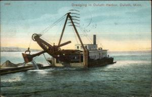 Duluth MN Dredging Ship in Harbor 1909 Used Postcard