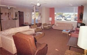 Dania Florida~Hotel Poinciana~Southern Comfort~Lobby~Front Desk~1960s Postcard