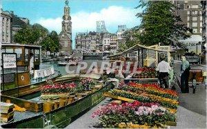 Postcard Modern Flowermarket Amsterdam Singel