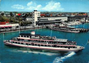 Hafenbahnhof mit M. S. Schwaben Boats Partial view Postcard