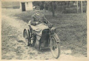 Early motorcycle real photo postcard