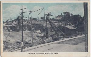 Wisconsin Wi Postcard 1928 MONTELLO Granite Quarry Rocks Crane