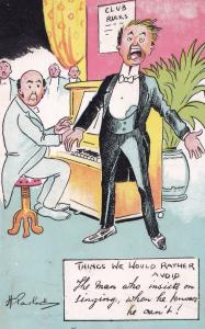 Piano Man Who Cant Sing at Social Club Antique Comic Music Postcard