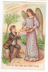 Lords Prayer Angel Boy Embossed Postcard ASB Germany Gold