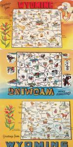 Wyoming 3x Map Postcard s