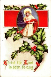 Christ the Lord - Christmas - Religous Holly  - POSTCARD PC POSTED