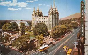 USA Temple Square Salt Lake City, Utah Auto Vintage Cars Bus Hotel