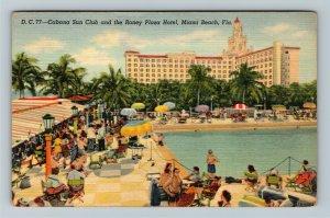 Miami FL-Florida,Advertise Roney Plaza Hotel Cabana Sun Club,Pool,Linen Postcard
