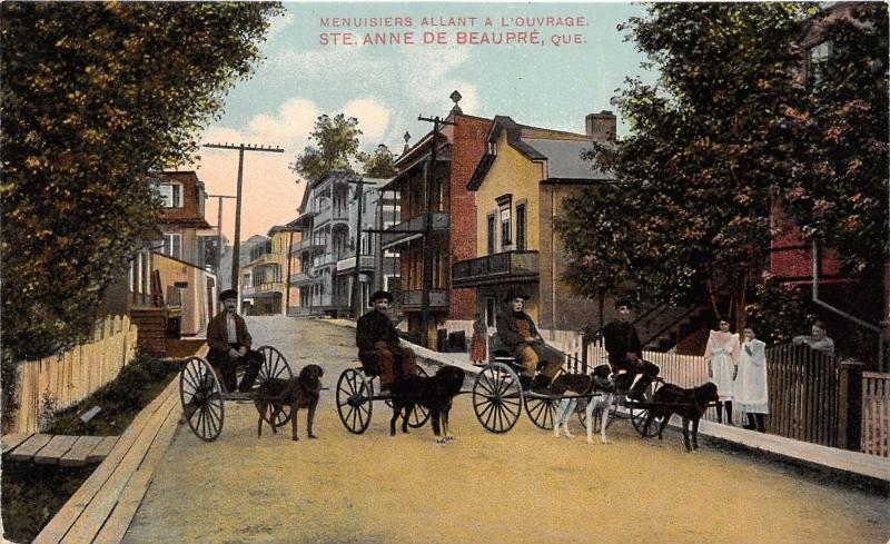 Sainte-Anne-de-Beaupré Quebec~Dogs Harnassed to Wagons~c1910 Postcard