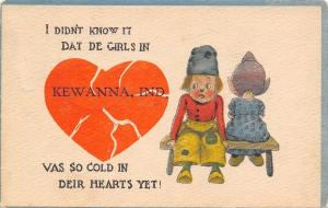Kewanna Indiana~Girls Have Cold Hearts~I Didn't Know~1913 Pennant Postcard
