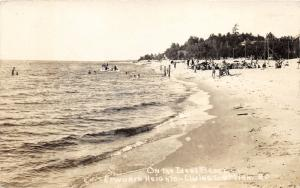 Ludington Michigan~Epworth Heights~Beach Scene~People in Water-on Sand~RPPC