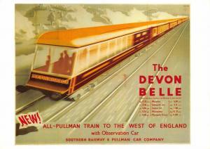 Postcard The Devon Belle Southern Railway & Pullman Car Company Repro Advert