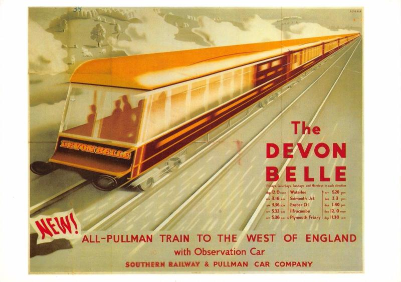 Postcard The Devon Belle Southern Railway & Pullman Car Company Repro Advert
