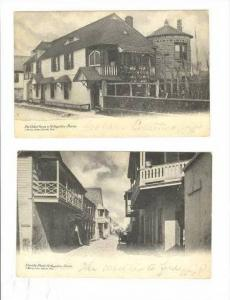 2 postcards  Oldest House & Charlotte Street, St Augustine, Florida, PU-1906