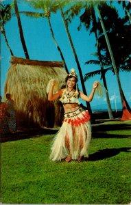 Tahitian Hulu Dancer Hawaii Postcard used 1940s/50s