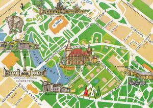 Varosliget Hungary City Park Map Megye Postcard