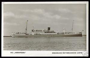Royal Dutch Lloyd, M.S. Indrapoera (1940s) RPPC