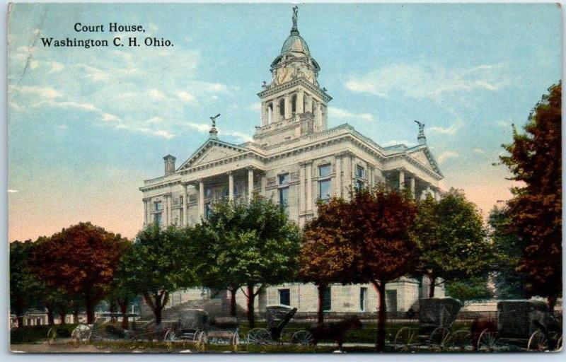 Washington Court House, Ohio Postcard Fayette County Courthouse Building c1910s