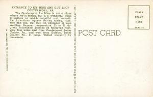 Coudersport Pennsylvania~Ice Mine & Gift Shop Entrance~1955 Postcard
