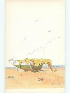 foreign 1931 Postcard signed BOAT UP ON THE BEACH AC3276