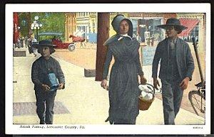 Amish Family Lancaster County Pennsylvania Postcard