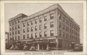 Casper WY Hotel Henning 1940s Postcard