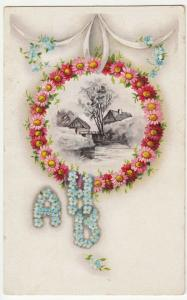 Greetings; Wreath Decorated With Flowers, Initials AHB PPC c 1905 - 1910, Unused