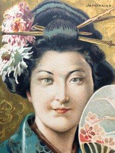 C1920 Japanese Geisha Drawing in Colour Postcard