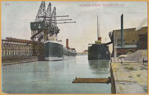 Waukegan, ILL., Harbor Scene-Two steam freighters at the loading docks-1907